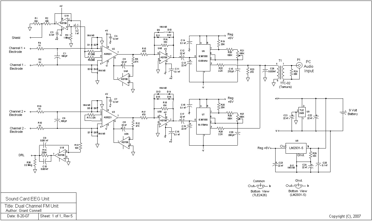 Eeg Frequency Modulation Circuit Diagram Schematic For The Unit Dual Channel Fm